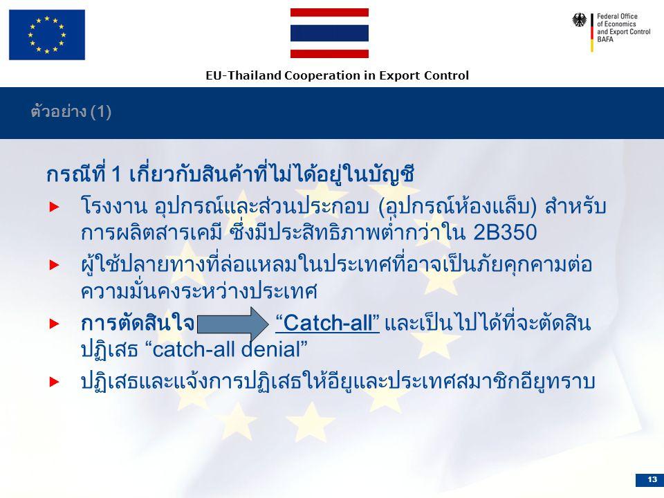 EU-Thailand Cooperation in Export Control 13 ตัวอย่าง (1) กรณีที่ 1 เกี่ยวกับสินค้าที่ไม่ได้อยู่ในบัญชี  โรงงาน อุปกรณ์และส่วนประกอบ (อุปกรณ์ห้องแล็บ) สำหรับ การผลิตสารเคมี ซึ่งมีประสิทธิภาพต่ำกว่าใน 2B350  ผู้ใช้ปลายทางที่ล่อแหลมในประเทศที่อาจเป็นภัยคุกคามต่อ ความมั่นคงระหว่างประเทศ  การตัดสินใจ Catch-all และเป็นไปได้ที่จะตัดสิน ปฏิเสธ catch-all denial  ปฏิเสธและแจ้งการปฏิเสธให้อียูและประเทศสมาชิกอียูทราบ