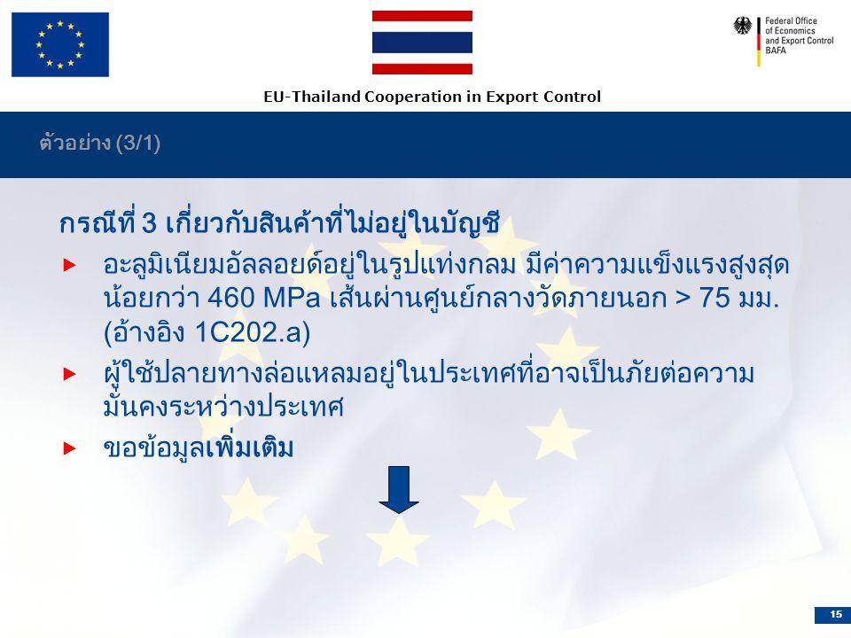EU-Thailand Cooperation in Export Control 15 ตัวอย่าง (3/1) กรณีที่ 3 เกี่ยวกับสินค้าที่ไม่อยู่ในบัญชี  อะลูมิเนียมอัลลอยด์อยู่ในรูปแท่งกลม มีค่าความแข็งแรงสูงสุด น้อยกว่า 460 MPa เส้นผ่านศูนย์กลางวัดภายนอก > 75 มม.