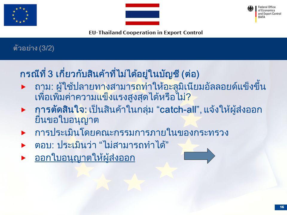 EU-Thailand Cooperation in Export Control 16 ตัวอย่าง (3/2) กรณีที่ 3 เกี่ยวกับสินค้าที่ไม่ได้อยู่ในบัญชี (ต่อ)  ถาม: ผู้ใช้ปลายทางสามารถทำให้อะลูมิเนียมอัลลอยด์แข็งขึ้น เพื่อเพิ่มค่าความแข็งแรงสูงสุดได้หรือไม่.