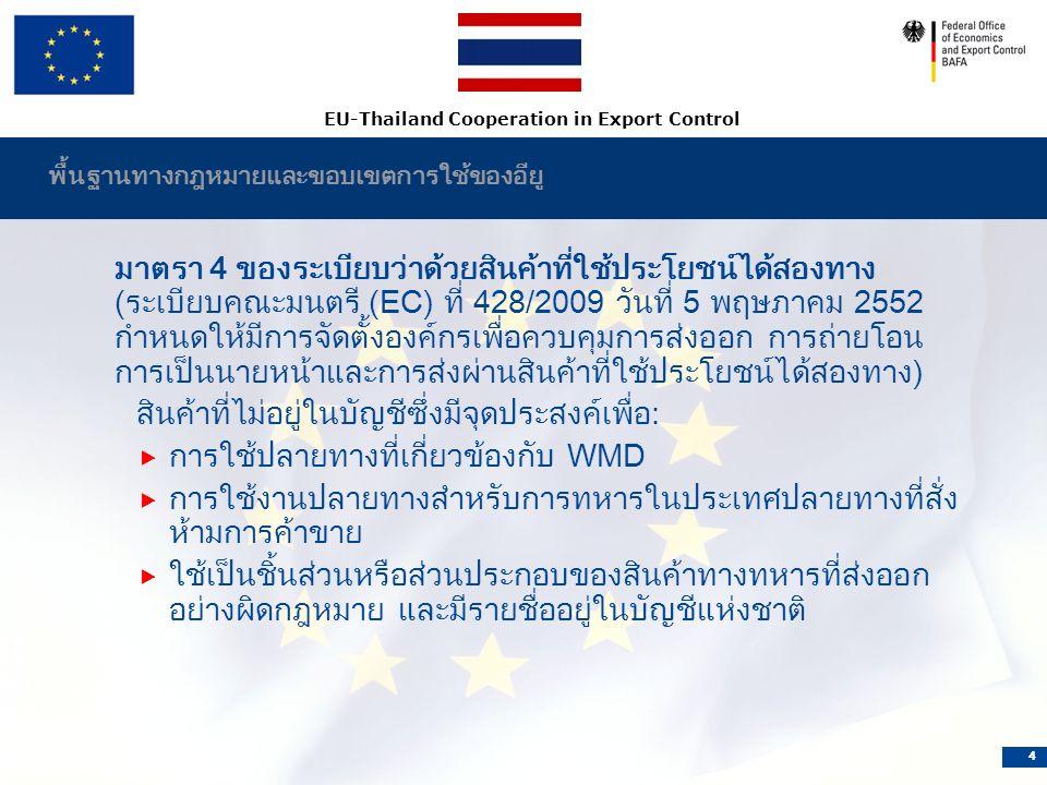 EU-Thailand Cooperation in Export Control 4 พื้นฐานทางกฎหมายและขอบเขตการใช้ของอียู มาตรา 4 ของระเบียบว่าด้วยสินค้าที่ใช้ประโยชน์ได้สองทาง (ระเบียบคณะมนตรี (EC) ที่ 428/2009 วันที่ 5 พฤษภาคม 2552 กำหนดให้มีการจัดตั้งองค์กรเพื่อควบคุมการส่งออก การถ่ายโอน การเป็นนายหน้าและการส่งผ่านสินค้าที่ใช้ประโยชน์ได้สองทาง) สินค้าที่ไม่อยู่ในบัญชีซึ่งมีจุดประสงค์เพื่อ:  การใช้ปลายทางที่เกี่ยวข้องกับ WMD  การใช้งานปลายทางสำหรับการทหารในประเทศปลายทางที่สั่ง ห้ามการค้าขาย  ใช้เป็นชิ้นส่วนหรือส่วนประกอบของสินค้าทางทหารที่ส่งออก อย่างผิดกฎหมาย และมีรายชื่ออยู่ในบัญชีแห่งชาติ