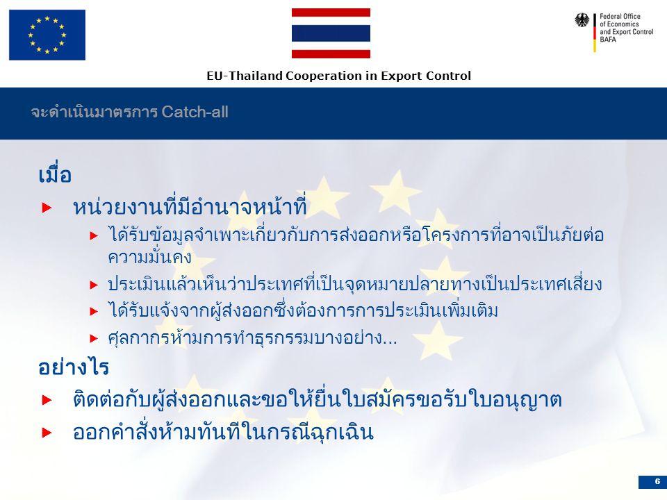 EU-Thailand Cooperation in Export Control 6 จะดำเนินมาตรการ Catch-all เมื่อ  หน่วยงานที่มีอำนาจหน้าที่  ได้รับข้อมูลจำเพาะเกี่ยวกับการส่งออกหรือโครงการที่อาจเป็นภัยต่อ ความมั่นคง  ประเมินแล้วเห็นว่าประเทศที่เป็นจุดหมายปลายทางเป็นประเทศเสี่ยง  ได้รับแจ้งจากผู้ส่งออกซึ่งต้องการการประเมินเพิ่มเติม  ศุลกากรห้ามการทำธุรกรรมบางอย่าง...