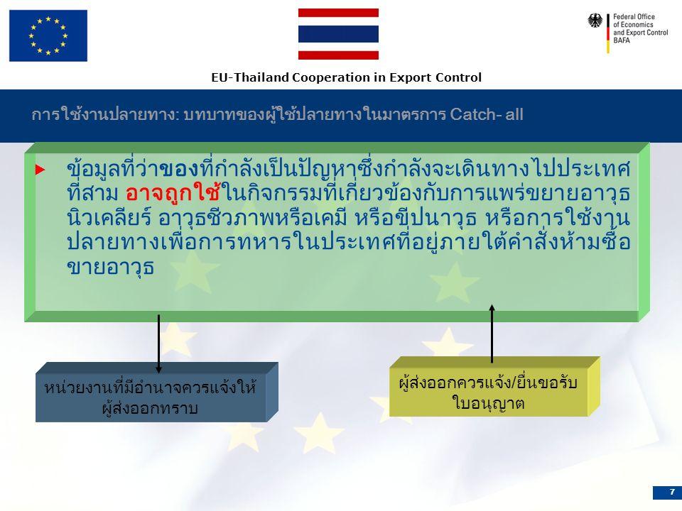 EU-Thailand Cooperation in Export Control 7 การใช้งานปลายทาง: บทบาทของผู้ใช้ปลายทางในมาตรการ Catch- all  ข้อมูลที่ว่าของที่กำลังเป็นปัญหาซึ่งกำลังจะเดินทางไปประเทศ ที่สาม อาจถูกใช้ในกิจกรรมที่เกี่ยวข้องกับการแพร่ขยายอาวุธ นิวเคลียร์ อาวุธชีวภาพหรือเคมี หรือขีปนาวุธ หรือการใช้งาน ปลายทางเพื่อการทหารในประเทศที่อยู่ภายใต้คำสั่งห้ามซื้อ ขายอาวุธ หน่วยงานที่มีอำนาจควรแจ้งให้ ผู้ส่งออกทราบ ผู้ส่งออกควรแจ้ง/ยื่นขอรับ ใบอนุญาต