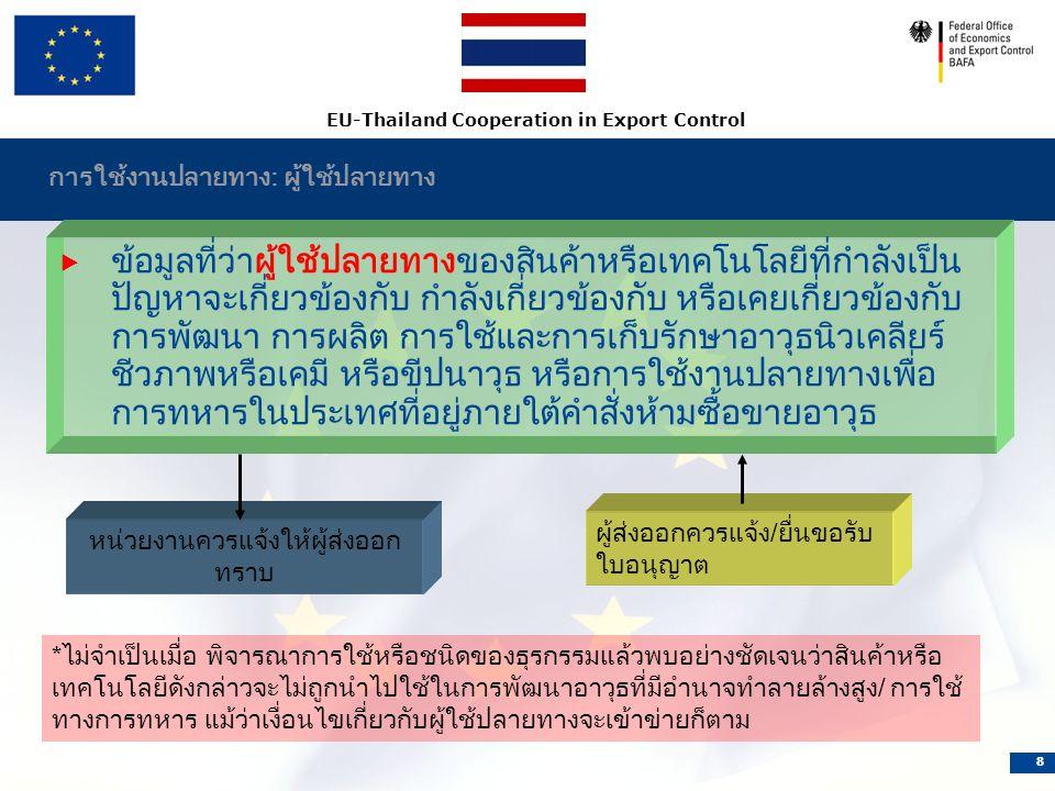 EU-Thailand Cooperation in Export Control 8 การใช้งานปลายทาง: ผู้ใช้ปลายทาง  ข้อมูลที่ว่าผู้ใช้ปลายทางของสินค้าหรือเทคโนโลยีที่กำลังเป็น ปัญหาจะเกี่ยวข้องกับ กำลังเกี่ยวข้องกับ หรือเคยเกี่ยวข้องกับ การพัฒนา การผลิต การใช้และการเก็บรักษาอาวุธนิวเคลียร์ ชีวภาพหรือเคมี หรือขีปนาวุธ หรือการใช้งานปลายทางเพื่อ การทหารในประเทศที่อยู่ภายใต้คำสั่งห้ามซื้อขายอาวุธ หน่วยงานควรแจ้งให้ผู้ส่งออก ทราบ ผู้ส่งออกควรแจ้ง/ยื่นขอรับ ใบอนุญาต *ไม่จำเป็นเมื่อ พิจารณาการใช้หรือชนิดของธุรกรรมแล้วพบอย่างชัดเจนว่าสินค้าหรือ เทคโนโลยีดังกล่าวจะไม่ถูกนำไปใช้ในการพัฒนาอาวุธที่มีอำนาจทำลายล้างสูง/ การใช้ ทางการทหาร แม้ว่าเงื่อนไขเกี่ยวกับผู้ใช้ปลายทางจะเข้าข่ายก็ตาม