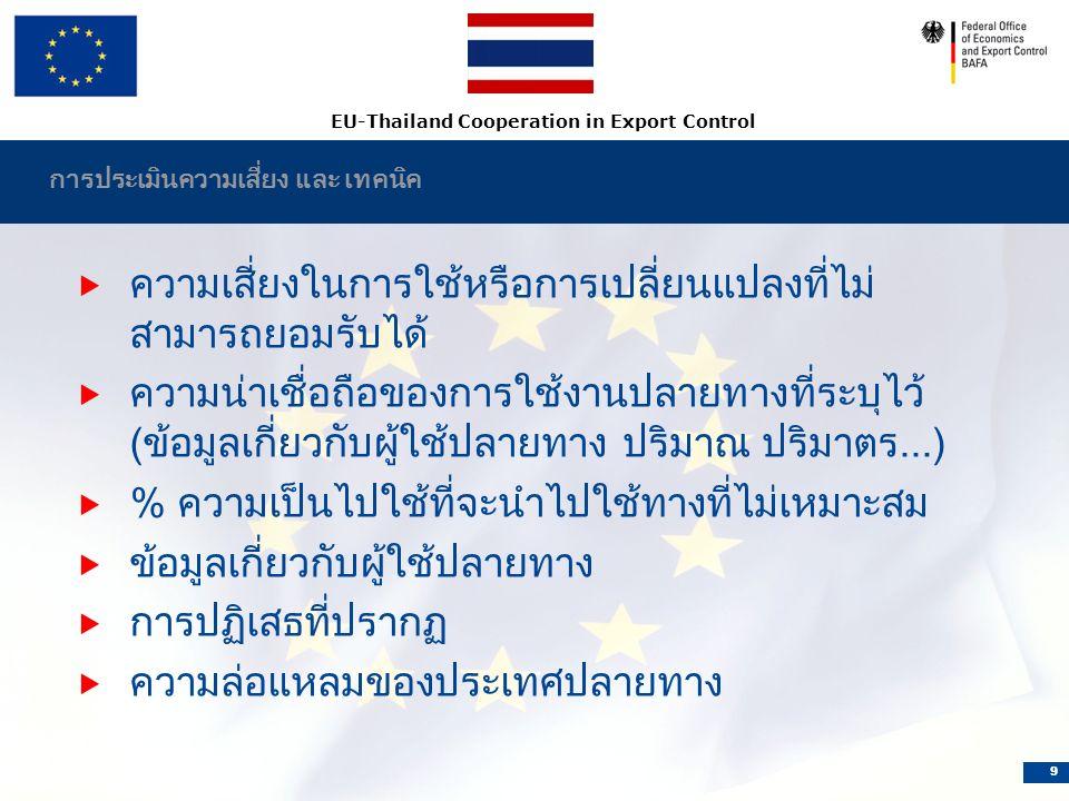EU-Thailand Cooperation in Export Control 9 การประเมินความเสี่ยง และ เทคนิค  ความเสี่ยงในการใช้หรือการเปลี่ยนแปลงที่ไม่ สามารถยอมรับได้  ความน่าเชื่อถือของการใช้งานปลายทางที่ระบุไว้ (ข้อมูลเกี่ยวกับผู้ใช้ปลายทาง ปริมาณ ปริมาตร...)  % ความเป็นไปใช้ที่จะนำไปใช้ทางที่ไม่เหมาะสม  ข้อมูลเกี่ยวกับผู้ใช้ปลายทาง  การปฏิเสธที่ปรากฏ  ความล่อแหลมของประเทศปลายทาง