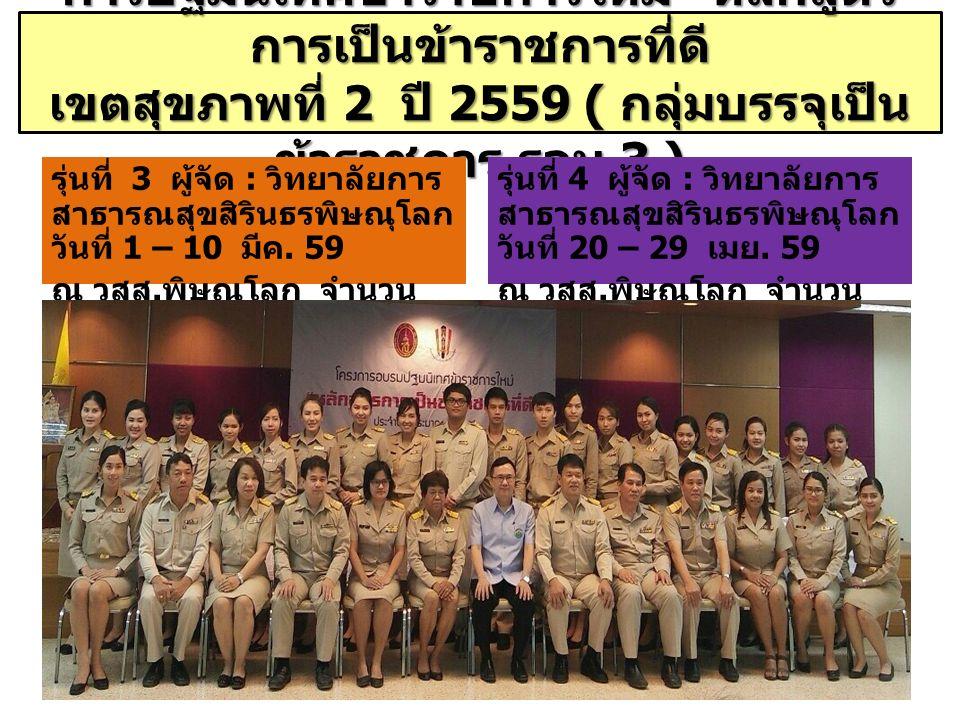 """การปฐมนิเทศข้าราชการใหม่ """" หลักสูตร การเป็นข้าราชการที่ดี เขตสุขภาพที่ 2 ปี 2559 ( กลุ่มบรรจุเป็น ข้าราชการ รอบ 3 ) รุ่นที่ 3 ผู้จัด : วิทยาลัยการ สาธ"""