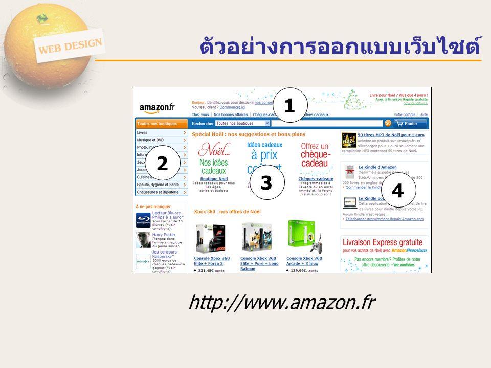 http://www.amazon.fr 1 2 3 4 ตัวอย่างการออกแบบเว็บไซต์