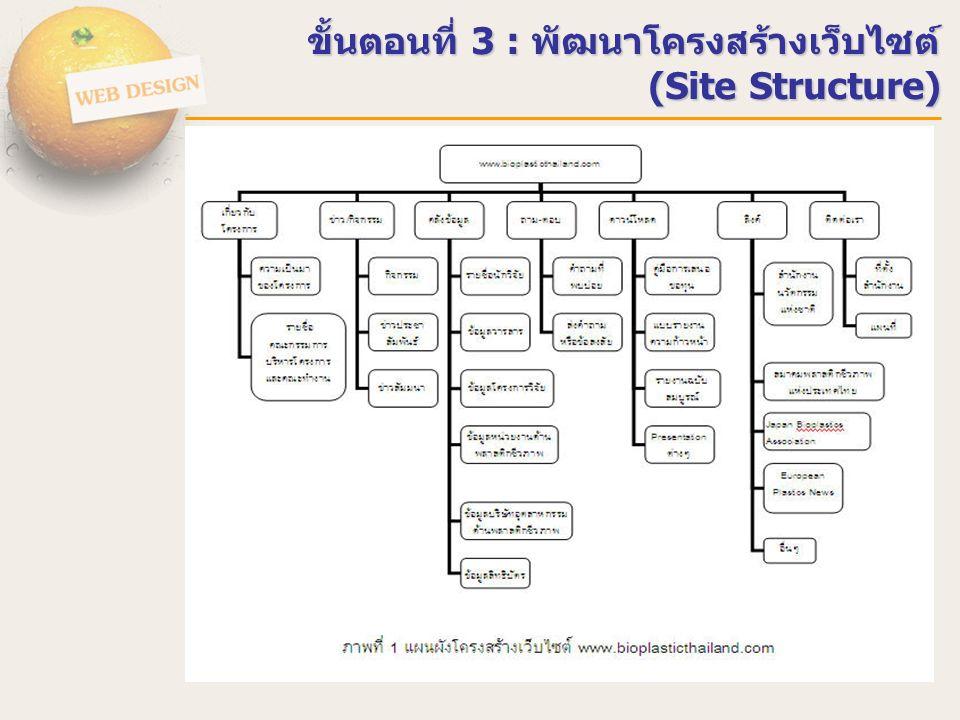 ขั้นตอนที่ 3 : พัฒนาโครงสร้างเว็บไซต์ (Site Structure)