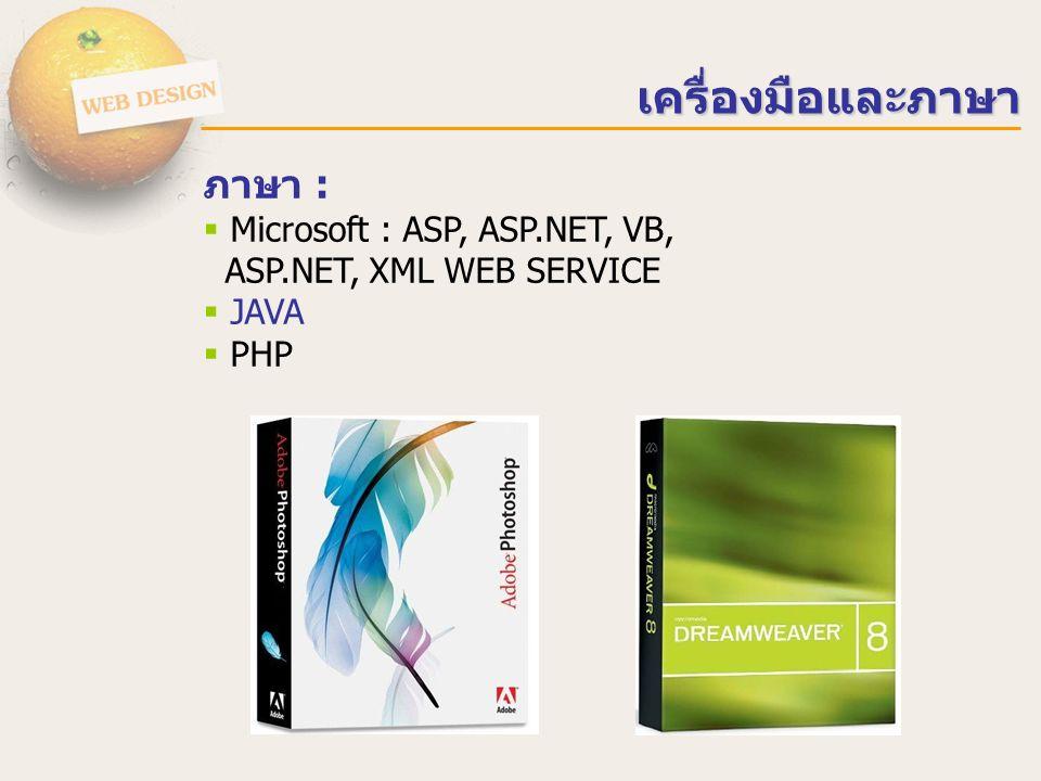 เครื่องมือและภาษา ภาษา :  Microsoft : ASP, ASP.NET, VB, ASP.NET, XML WEB SERVICE  JAVA  PHP