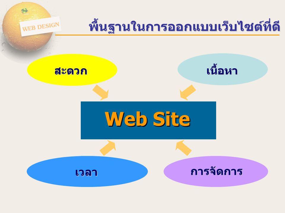 พื้นฐานในการออกแบบเว็บไซต์ที่ดี Web Site สะดวก เวลา เนื้อหา การจัดการ
