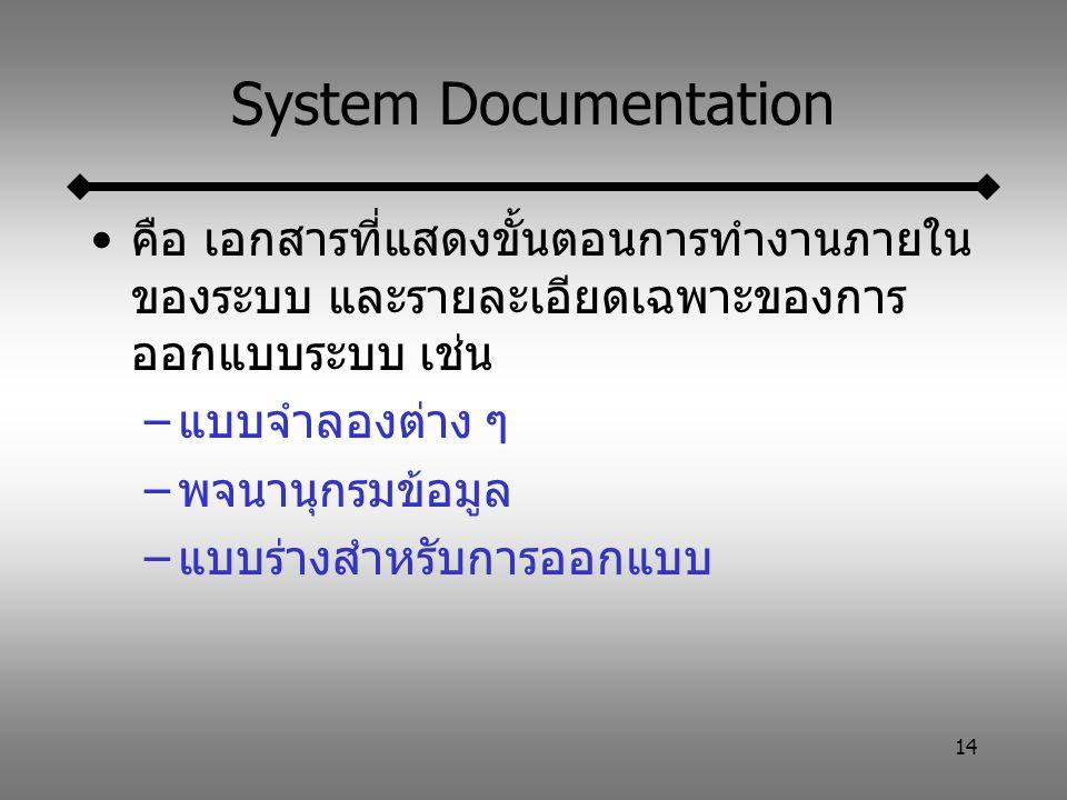 14 System Documentation คือ เอกสารที่แสดงขั้นตอนการทำงานภายใน ของระบบ และรายละเอียดเฉพาะของการ ออกแบบระบบ เช่น –แบบจำลองต่าง ๆ –พจนานุกรมข้อมูล –แบบร่างสำหรับการออกแบบ