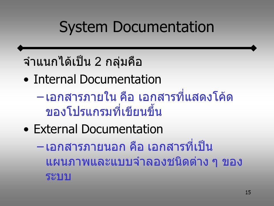 15 System Documentation จำแนกได้เป็น 2 กลุ่มคือ Internal Documentation –เอกสารภายใน คือ เอกสารที่แสดงโค้ด ของโปรแกรมที่เขียนขึ้น External Documentation –เอกสารภายนอก คือ เอกสารที่เป็น แผนภาพและแบบจำลองชนิดต่าง ๆ ของ ระบบ