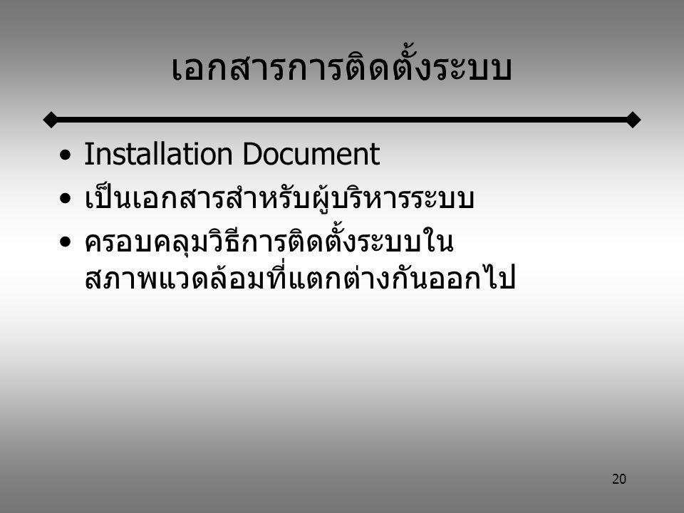 20 เอกสารการติดตั้งระบบ Installation Document เป็นเอกสารสำหรับผู้บริหารระบบ ครอบคลุมวิธีการติดตั้งระบบใน สภาพแวดล้อมที่แตกต่างกันออกไป