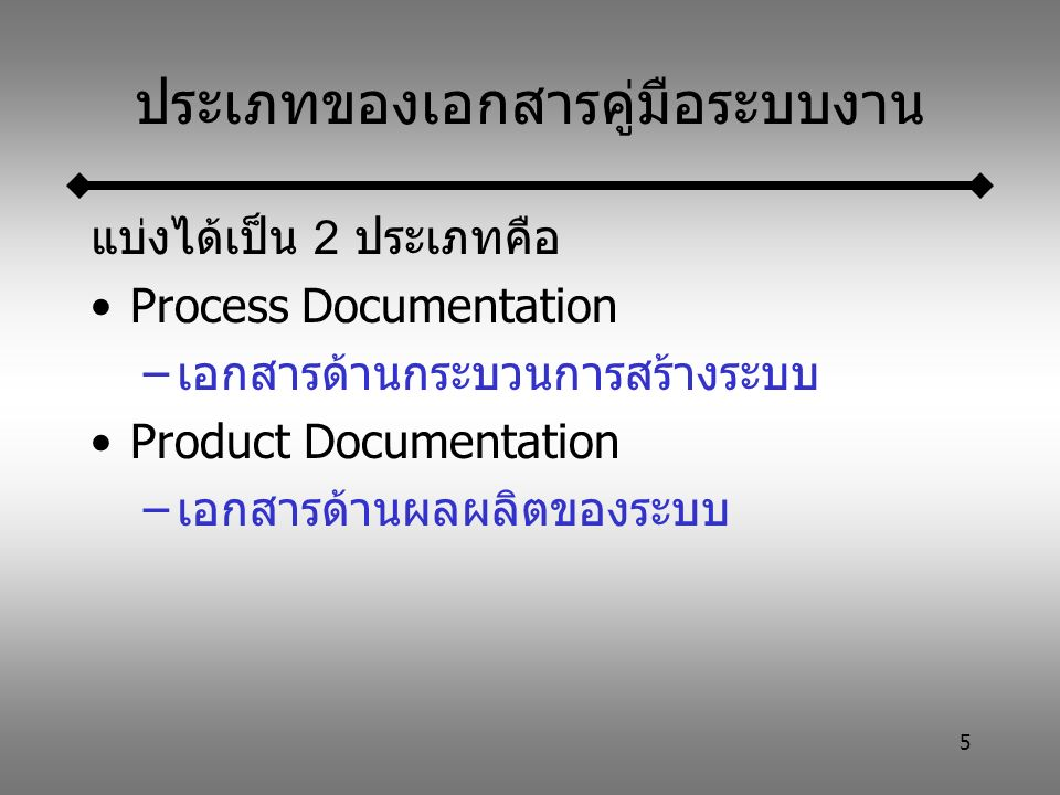 16 User Documentation คือ เอกสารที่จัดทำขึ้นเพื่อแสดงขั้นตอนการ ใช้งานระบบ และวิธีใช้งานโปรแกรม แบ่งได้เป็น 5 ประเภทคือ –เอกสารองค์ประกอบของงาน –คู่มือการใช้งานเบื้องต้น –คู่มืออ้างอิงระบบงาน –เอกสารการติดตั้งระบบ –คู่มือสำหรับนักบริหารระบบ