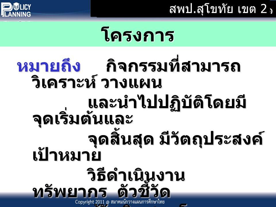 Copyright ๒๐๑๑ @ สมาคมนักวางแผนการศึกษาประเทศไทย โครงการ หมายถึง กิจกรรมที่สามารถ วิเคราะห์ วางแผน หมายถึง กิจกรรมที่สามารถ วิเคราะห์ วางแผน และนำไปปฏิบัติโดยมี จุดเริ่มต้นและ และนำไปปฏิบัติโดยมี จุดเริ่มต้นและ จุดสิ้นสุด มีวัตถุประสงค์ เป้าหมาย จุดสิ้นสุด มีวัตถุประสงค์ เป้าหมาย วิธีดำเนินงาน ทรัพยากร ตัวชี้วัด วิธีดำเนินงาน ทรัพยากร ตัวชี้วัด ผู้รับผิดชอบโครงการ และวิธีประเมินผล ผู้รับผิดชอบโครงการ และวิธีประเมินผล ที่ชัดเจน ที่ชัดเจน สพป.