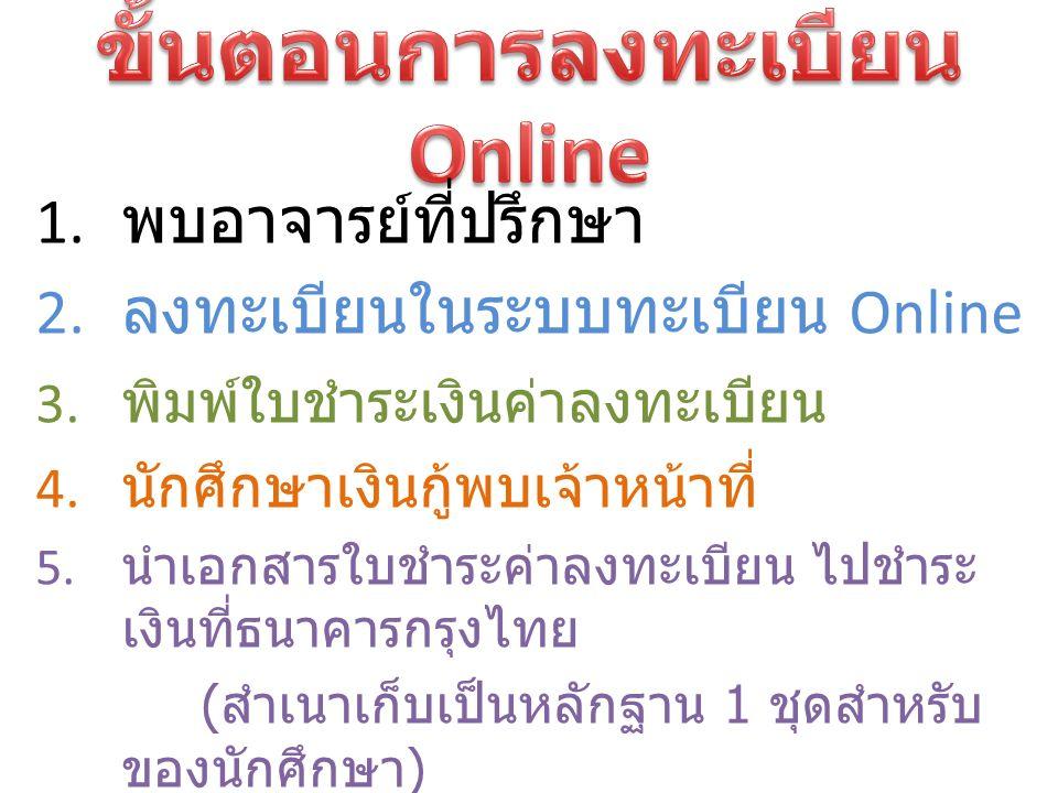 1. พบอาจารย์ที่ปรึกษา 2. ลงทะเบียนในระบบทะเบียน Online 3.