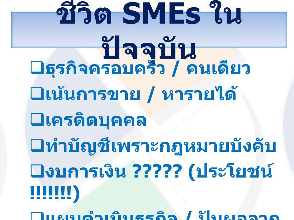 ชีวิต SMEs ใน ปัจจุบัน  ธุรกิจครอบครัว / คนเดียว  เน้นการขาย / หารายได้  เครดิตบุคคล  ทำบัญชีเพราะกฎหมายบังคับ  งบการเงิน ????? ( ประโยชน์ !!!!!!