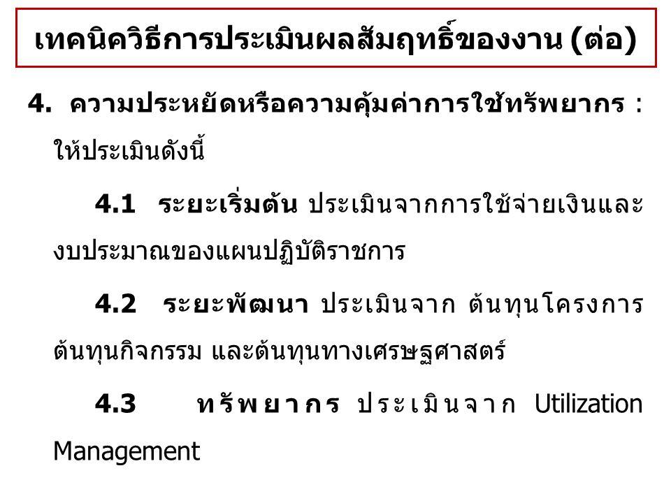4. ความประหยัดหรือความคุ้มค่าการใช้ทรัพยากร : ให้ประเมินดังนี้ 4.1 ระยะเริ่มต้น ประเมินจากการใช้จ่ายเงินและ งบประมาณของแผนปฏิบัติราชการ 4.2 ระยะพัฒนา