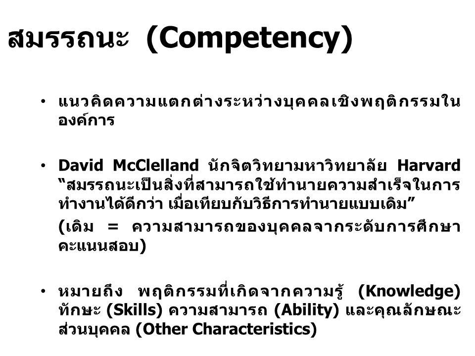 สมรรถนะ (Competency) แนวคิดความแตกต่างระหว่างบุคคลเชิงพฤติกรรมใน องค์การ David McClelland นักจิตวิทยามหาวิทยาลัย Harvard สมรรถนะเป็นสิ่งที่สามารถใช้ทำนายความสำเร็จในการ ทำงานได้ดีกว่า เมื่อเทียบกับวิธีการทำนายแบบเดิม (เดิม = ความสามารถของบุคคลจากระดับการศึกษา คะแนนสอบ) หมายถึง พฤติกรรมที่เกิดจากความรู้ (Knowledge) ทักษะ (Skills) ความสามารถ (Ability) และคุณลักษณะ ส่วนบุคคล (Other Characteristics)