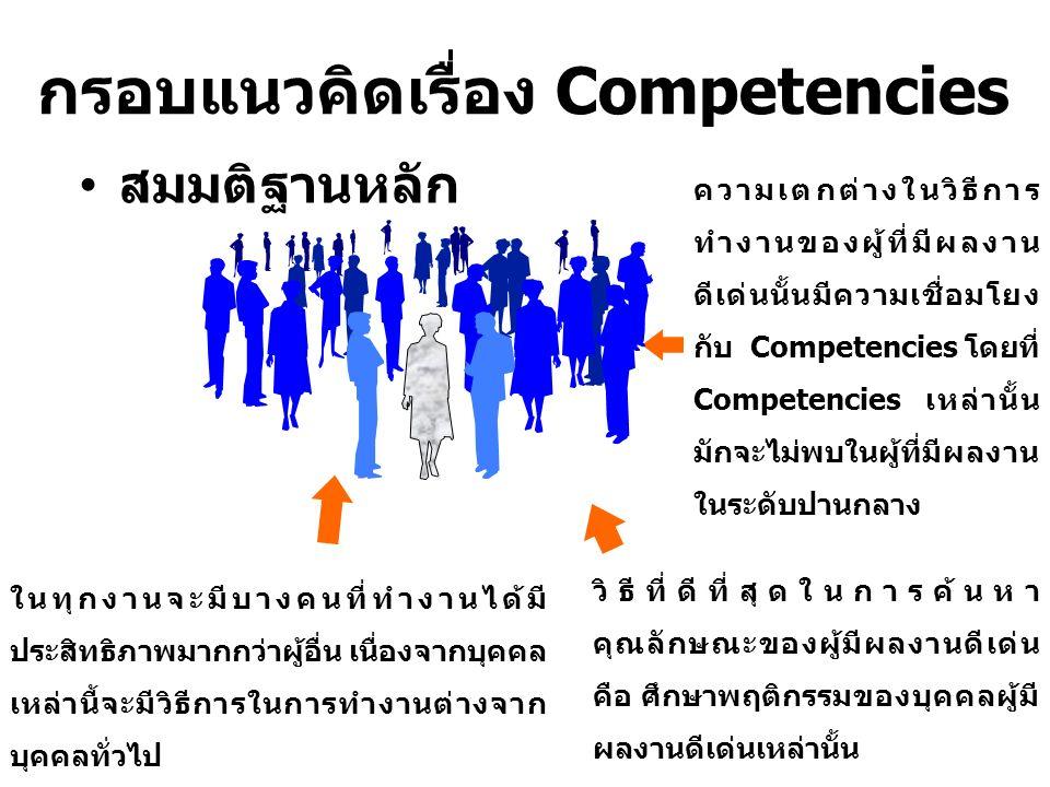 ในทุกงานจะมีบางคนที่ทำงานได้มี ประสิทธิภาพมากกว่าผู้อื่น เนื่องจากบุคคล เหล่านี้จะมีวิธีการในการทำงานต่างจาก บุคคลทั่วไป ความเตกต่างในวิธีการ ทำงานของผู้ที่มีผลงาน ดีเด่นนั้นมีความเชื่อมโยง กับ Competencies โดยที่ Competencies เหล่านั้น มักจะไม่พบในผู้ที่มีผลงาน ในระดับปานกลาง วิธีที่ดีที่สุดในการค้นหา คุณลักษณะของผู้มีผลงานดีเด่น คือ ศึกษาพฤติกรรมของบุคคลผู้มี ผลงานดีเด่นเหล่านั้น สมมติฐานหลัก กรอบแนวคิดเรื่อง Competencies