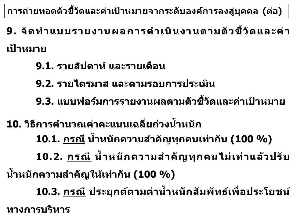 9. จัดทำแบบรายงานผลการดำเนินงานตามตัวชี้วัดและค่า เป้าหมาย 9.1.