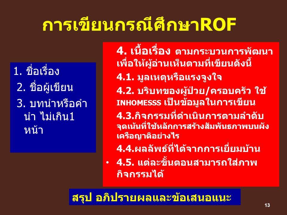 การเขียนกรณีศึกษาROF 1. ชื่อเรื่อง 2. ชื่อผู้เขียน 3. บทนำหรือคำ นำ ไม่เกิน1 หน้า 4. เนื้อเรื่อง ตามกระบวนการพัฒนา เพื่อให้ผู้อ่านเห็นตามที่เขียนดังนี