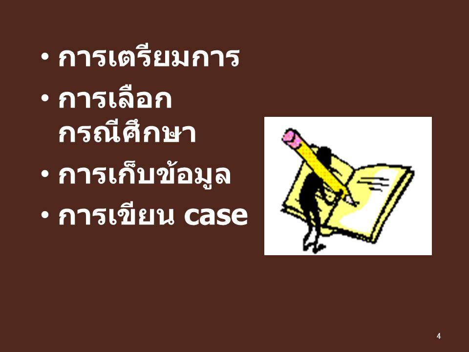 การเตรียมการ การเลือก กรณีศึกษา การเก็บข้อมูล การเขียน case 4