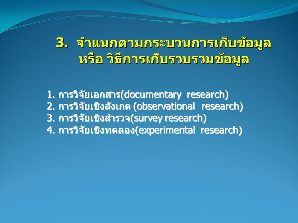 3. จำแนกตามกระบวนการเก็บข้อมูล 3. จำแนกตามกระบวนการเก็บข้อมูล หรือ วิธีการเก็บรวบรวมข้อมูล หรือ วิธีการเก็บรวบรวมข้อมูล 1. การวิจัยเอกสาร(documentary