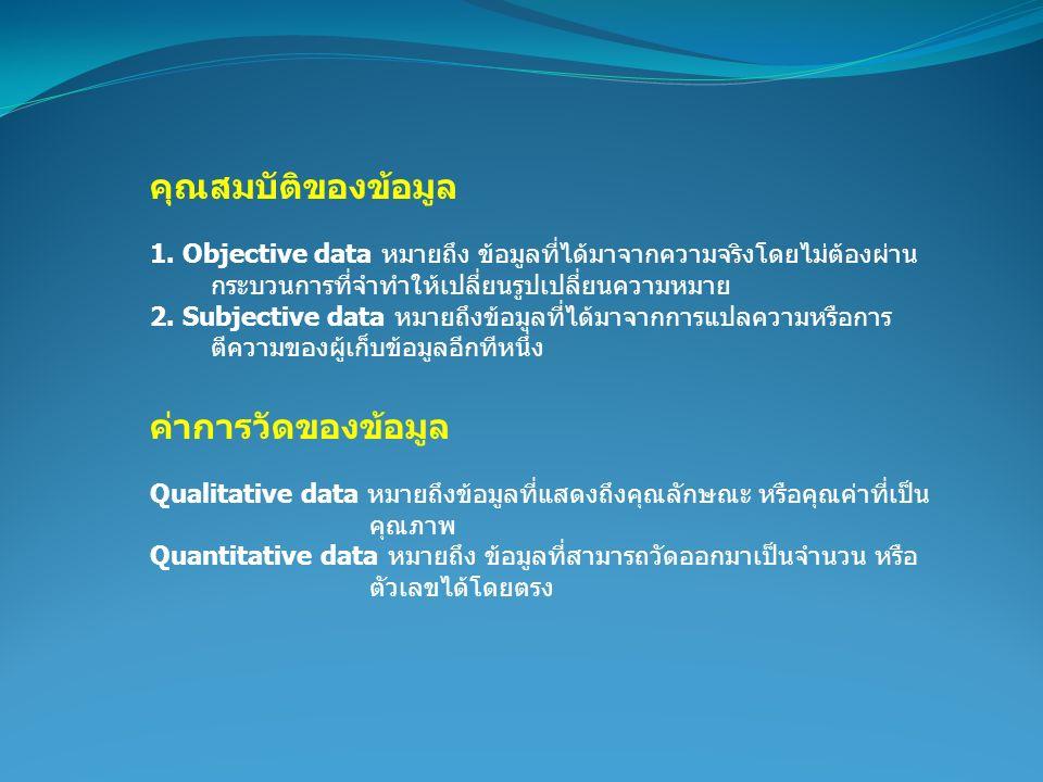 คุณสมบัติของข้อมูล 1. Objective data หมายถึง ข้อมูลที่ได้มาจากความจริงโดยไม่ต้องผ่าน กระบวนการที่จำทำให้เปลี่ยนรูปเปลี่ยนความหมาย 2. Subjective data ห