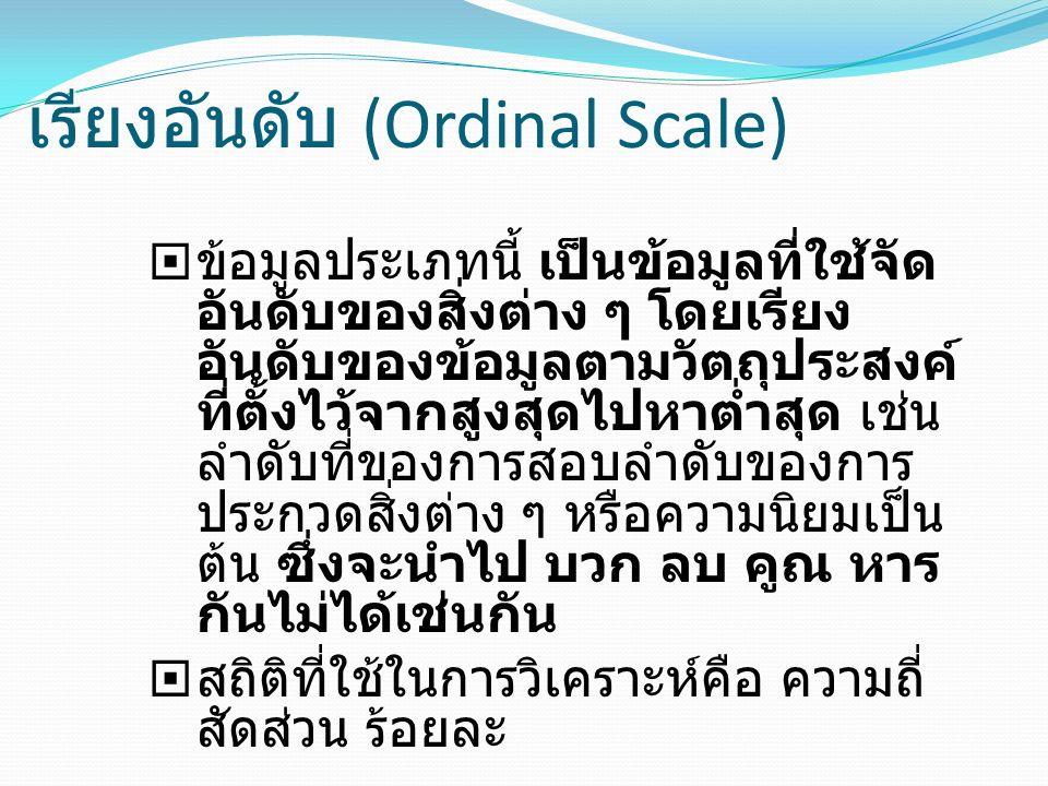 เรียงอันดับ (Ordinal Scale)  ข้อมูลประเภทนี้ เป็นข้อมูลที่ใช้จัด อันดับของสิ่งต่าง ๆ โดยเรียง อันดับของข้อมูลตามวัตถุประสงค์ ที่ตั้งไว้จากสูงสุดไปหาต