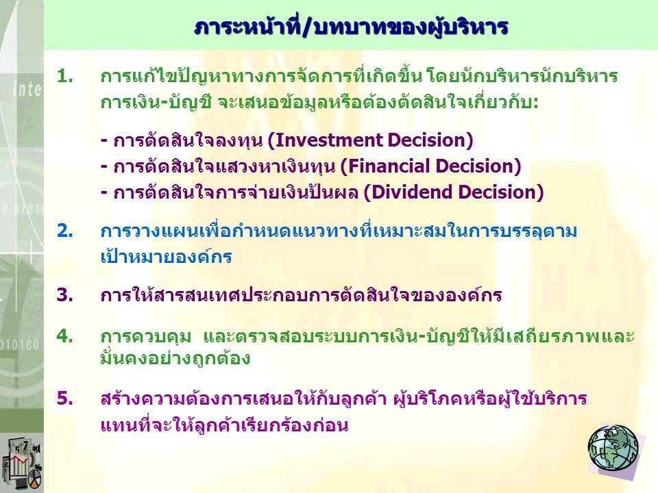 1.การแก้ไขปัญหาทางการจัดการที่เกิดขึ้น โดยนักบริหารนักบริหาร การเงิน-บัญชี จะเสนอข้อมูลหรือต้องตัดสินใจเกี่ยวกับ: - การตัดสินใจลงทุน (Investment Decision) - การตัดสินใจแสวงหาเงินทุน (Financial Decision) - การตัดสินใจการจ่ายเงินปันผล (Dividend Decision) 2.การวางแผนเพื่อกำหนดแนวทางที่เหมาะสมในการบรรลุตาม เป้าหมายองค์กร 3.การให้สารสนเทศประกอบการตัดสินใจขององค์กร 4.การควบคุม และตรวจสอบระบบการเงิน-บัญชีให้มีเสถียรภาพและ มั่นคงอย่างถูกต้อง 5.สร้างความต้องการเสนอให้กับลูกค้า ผู้บริโภคหรือผู้ใช้บริการ แทนที่จะให้ลูกค้าเรียกร้องก่อน ภาระหน้าที่/บทบาทของผู้บริหาร