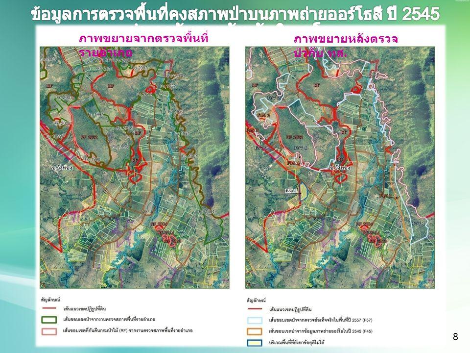 ภาพขยายจากตรวจพื้นที่ รายอำเภอ ภาพขยายหลังตรวจ ป่ากับ ทส. 8