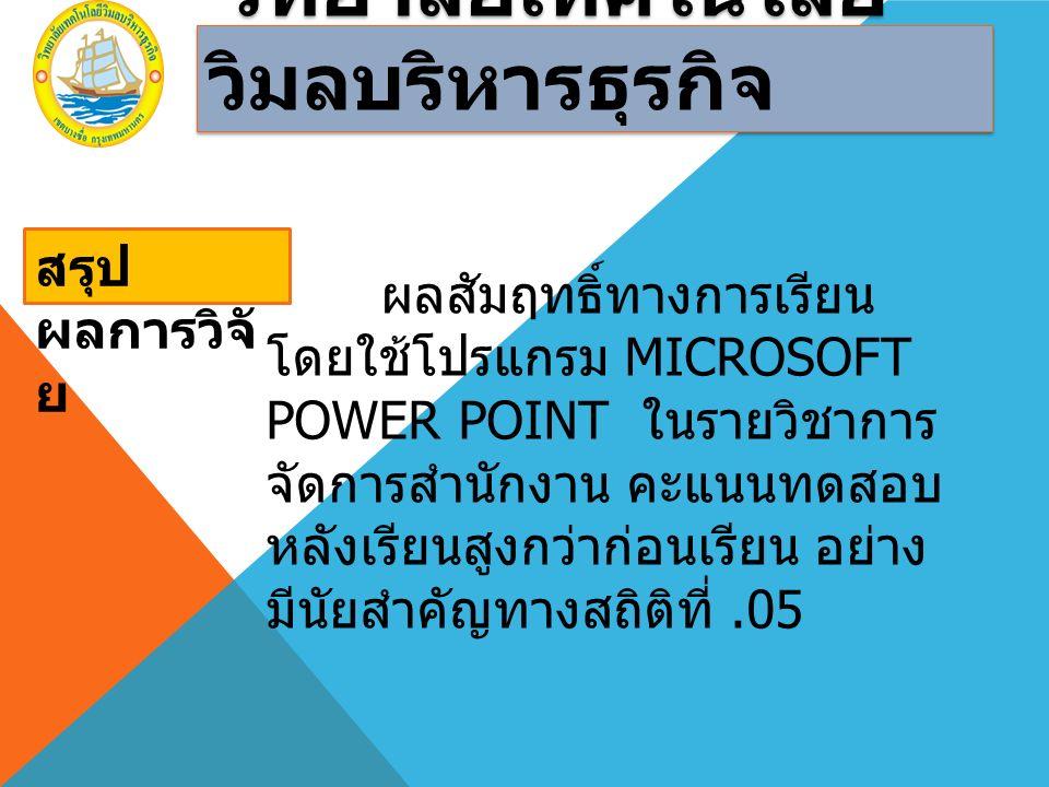 วิทยาลัยเทคโนโลยี วิมลบริหารธุรกิจ จากผลการวิจัยพบว่า ผลสัมฤทธิ์ ทางการเรียนหลังการเรียนด้วย การใช้ โปรแกรม Microsoft PowerPoint สูงกว่า ก่อนเรียน แสดงว่าการเรียนด้วยโปรแกรม Microsoft PowerPoint มีผลต่อการรียนรู้ ของผู้เรียน ทั้งในด้านความรู้ ความจำและ การนำไปใช้ ในวิชาอื่นๆ ที่มีเนื้อหาลักษณะ เดียวกัน ซึ่งจะเป็นประโยชน์ต่อ การเรียน การสอน และการศึกษาต่อไป ข้อเสนอแนะ ด้านการ เรียนการสอน