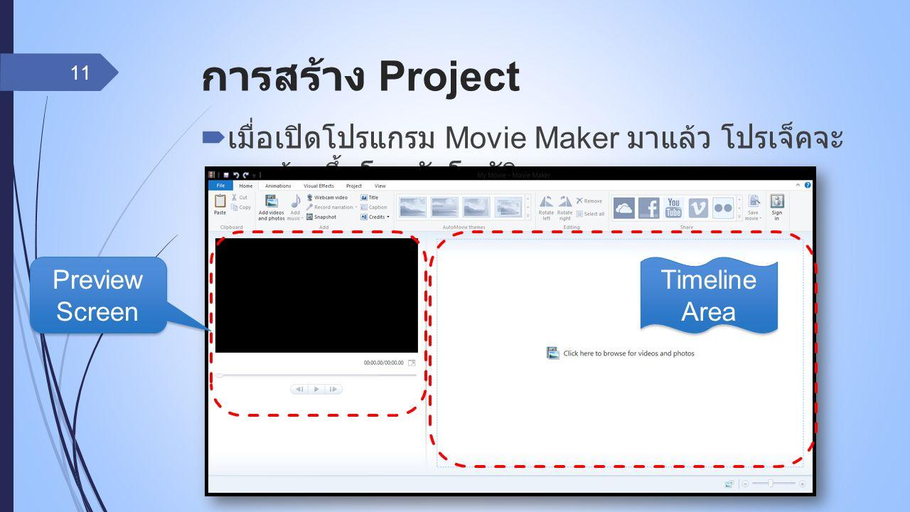 การสร้าง Project  เมื่อเปิดโปรแกรม Movie Maker มาแล้ว โปรเจ็คจะ ถูกสร้างขึ้นโดยอัตโนมัติ 11 Preview Screen Timeline Area