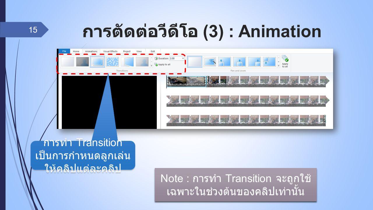 การตัดต่อวีดีโอ (3) : Animation 15 การทำ Transition เป็นการกำหนดลูกเล่น ให้คลิปแต่ละคลิป Note : การทำ Transition จะถูกใช้ เฉพาะในช่วงต้นของคลิปเท่านั้น