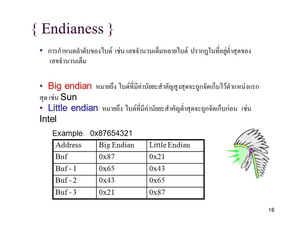 { Endianess } การกำหนดลำดับของไบต์ เช่น เลขจำนวนเต็มหลายไบต์ ปรากฎในที่อยู่ต่ำสุดของ เลขจำนวนเต็ม Big endian หมายถึง ไบต์ที่มีค่านัยยะสำคัญสูงสุดจะถูกจัดเก็บไว้ตำแหน่งแรก สุด เช่น Sun Little endian หมายถึง ไบต์ที่มีค่านัยยะสำคัญต่ำสุดจะถูกจัดเก็บก่อน เช่น Intel Example:0x87654321 AddressBig EndianLittle Endian Buf0x870x21 Buf + 10x650x43 Buf + 20x430x65 Buf + 30x210x87 16