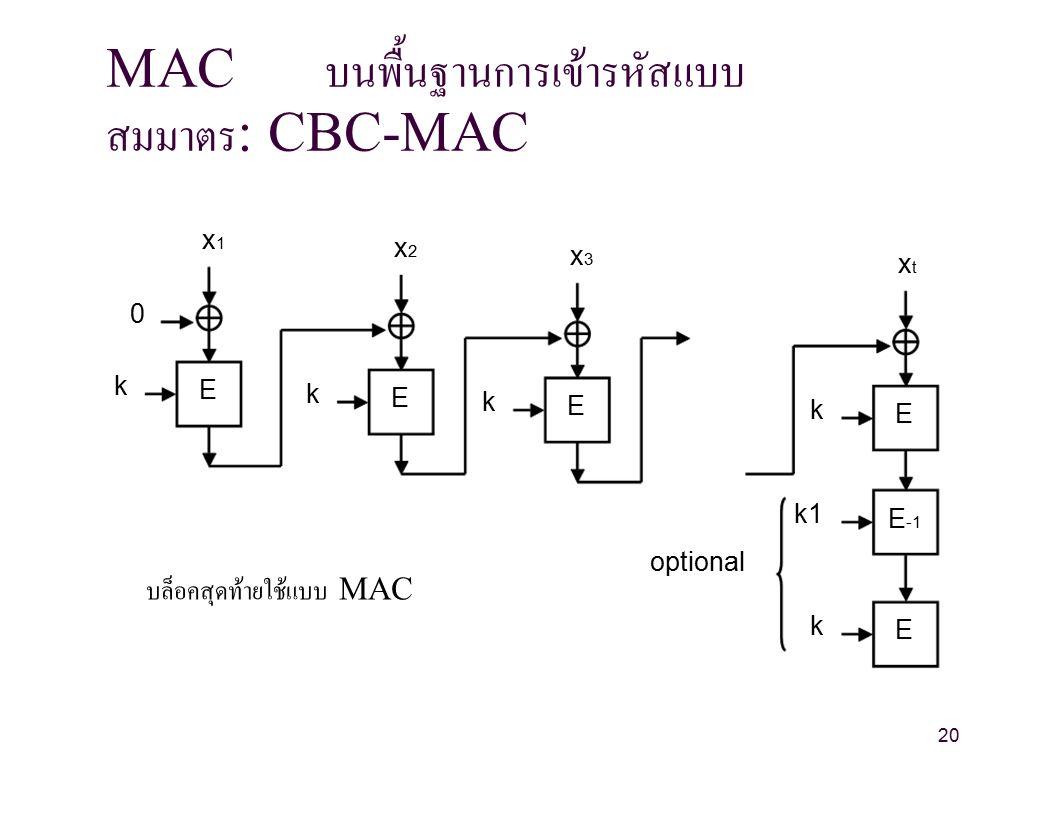 MAC บนพื้นฐานการเข้ารหัสแบบ สมมาตร : CBC-MAC x1x1 x2x2 x3x3 xtxt 0 k E k E k E k E k1 E -1 optional บล็อคสุดท้ายใช้แบบ MAC k E 20