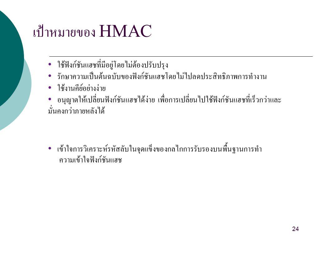 เป้าหมายของ HMAC ใช้ฟังก์ชันแฮชที่มีอยู่โดยไม่ต้องปรับปรุง รักษาความเป็นต้นฉบับของฟังก์ชันแฮชโดยไม่ไปลดประสิทธิภาพการทำงาน ใช้งานคีย์อย่างง่าย อนุญาตให้เปลี่ยนฟังก์ชันแฮชได้ง่าย เพื่อการเปลี่ยนไปใช้ฟังก์ชันแฮชที่เร็วกว่าและ มั่นคงกว่าภายหลังได้ เข้าใจการวิเคราะห์รหัสลับในจุดแข็งของกลไกการรับรองบนพื้นฐานการทำ ความเข้าใจฟังก์ชันแฮช 24
