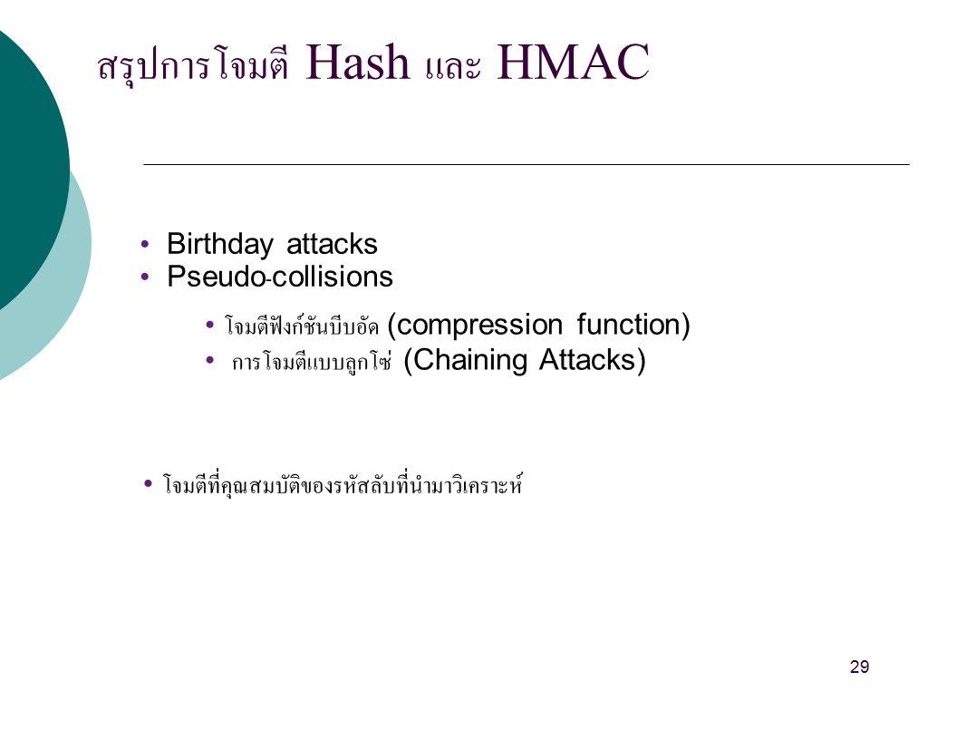สรุปการโจมตี Hash และ HMAC Birthday attacks Pseudo-collisions โจมตีฟังก์ชันบีบอัด (compression function) การโจมตีแบบลูกโซ่ (Chaining Attacks) โจมตีที่คุณสมบัติของรหัสลับที่นำมาวิเคราะห์ 29