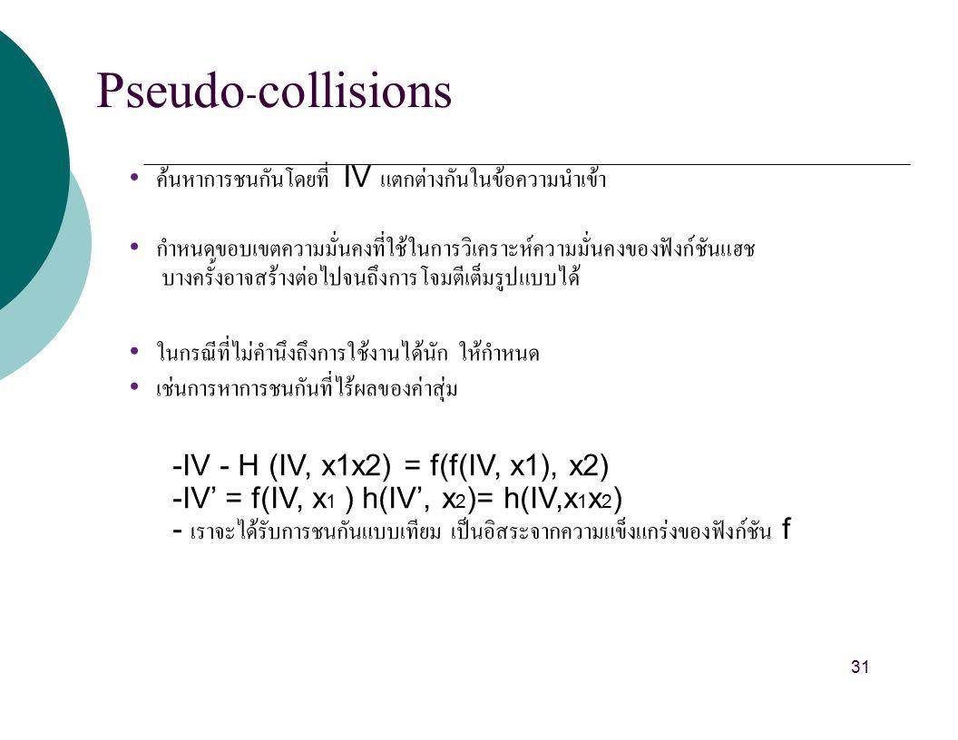 Pseudo-collisions ค้นหาการชนกันโดยที่ IV แตกต่างกันในข้อความนำเข้า กำหนดขอบเขตความมั่นคงที่ใช้ในการวิเคราะห์ความมั่นคงของฟังก์ชันแฮช บางครั้งอาจสร้างต่อไปจนถึงการโจมตีเต็มรูปแบบได้ ในกรณีที่ไม่คำนึงถึงการใช้งานได้นัก ให้กำหนด เช่นการหาการชนกันที่ไร้ผลของค่าสุ่ม -IV - H (IV, x1x2) = f(f(IV, x1), x2) -IV' = f(IV, x 1 ) h(IV', x 2 )= h(IV,x 1 x 2 ) - เราจะได้รับการชนกันแบบเทียม เป็นอิสระจากความแข็งแกร่งของฟังก์ชัน f 31