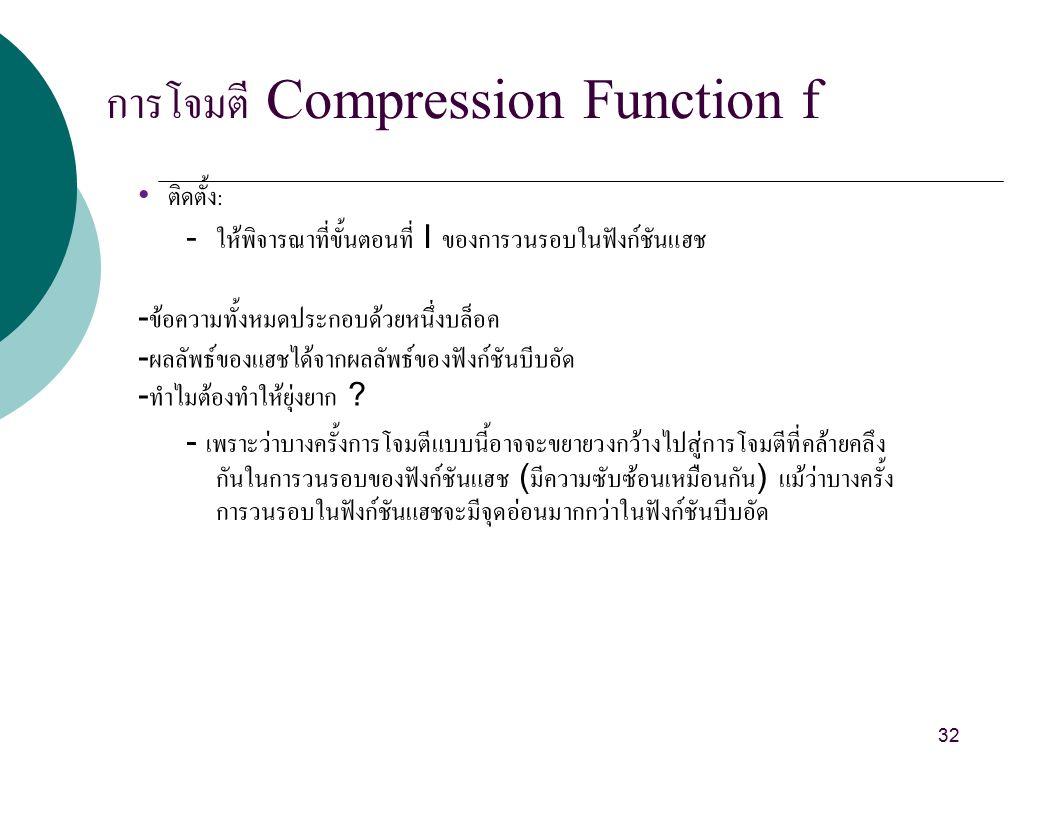 การโจมตี Compression Function f ติดตั้ง : - ให้พิจารณาที่ขั้นตอนที่ I ของการวนรอบในฟังก์ชันแฮช - ข้อความทั้งหมดประกอบด้วยหนึ่งบล็อค - ผลลัพธ์ของแฮชได้จากผลลัพธ์ของฟังก์ชันบีบอัด - ทำไมต้องทำให้ยุ่งยาก .