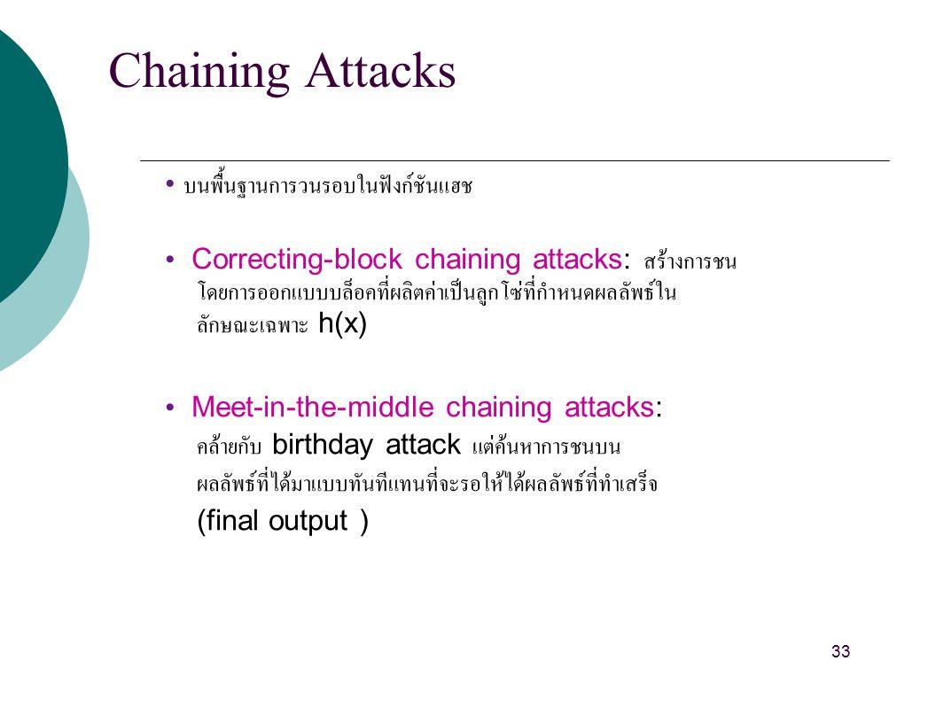 Chaining Attacks บนพื้นฐานการวนรอบในฟังก์ชันแฮช Correcting-block chaining attacks: สร้างการชน โดยการออกแบบบล็อคที่ผลิตค่าเป็นลูกโซ่ที่กำหนดผลลัพธ์ใน ลักษณะเฉพาะ h(x) Meet-in-the-middle chaining attacks: คล้ายกับ birthday attack แต่ค้นหาการชนบน ผลลัพธ์ที่ได้มาแบบทันทีแทนที่จะรอให้ได้ผลลัพธ์ที่ทำเสร็จ (final output ) 33