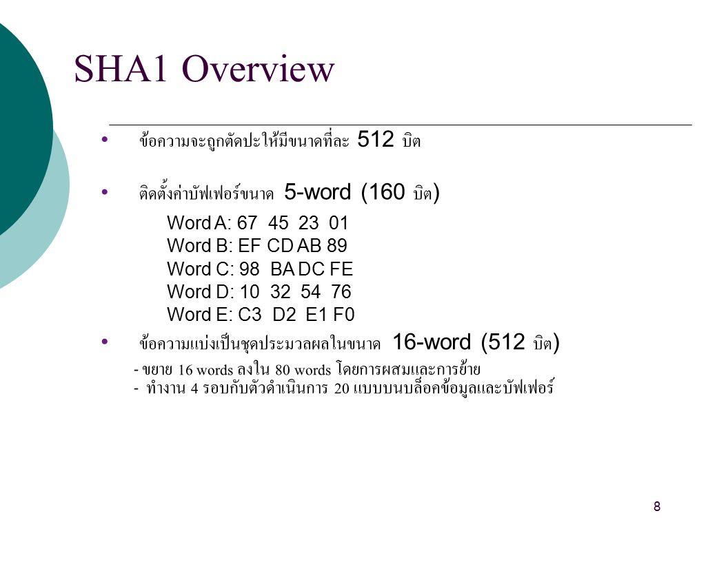 SHA1 Overview ข้อความจะถูกตัดปะให้มีขนาดที่ละ 512 บิต ติดตั้งค่าบัฟเฟอร์ขนาด 5-word (160 บิต ) Word A: 67 45 23 01 Word B: EF CD AB 89 Word C: 98 BA DC FE Word D: 10 32 54 76 Word E: C3 D2 E1 F0 ข้อความแบ่งเป็นชุดประมวลผลในขนาด 16-word (512 บิต ) - ขยาย 16 words ลงใน 80 words โดยการผสมและการย้าย - ทำงาน 4 รอบกับตัวดำเนินการ 20 แบบบนบล็อคข้อมูลและบัฟเฟอร์ 8
