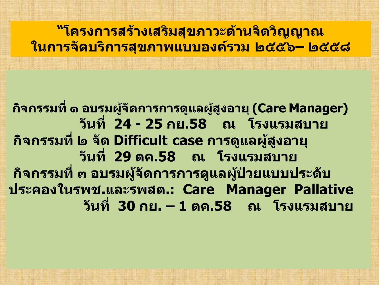 กิจกรรมที่ ๑ อบรมผู้จัดการการดูแลผู้สูงอายุ (Care Manager) วันที่ 24 - 25 กย.58 ณ โรงแรมสบาย กิจกรรมที่ ๒ จัด Difficult case การดูแลผู้สูงอายุ วันที่ 29 ตค.58 ณ โรงแรมสบาย กิจกรรมที่ ๓ อบรมผู้จัดการการดูแลผู้ป่วยแบบประดับ ประคองในรพช.และรพสต.: Care Manager Pallative วันที่ 30 กย.