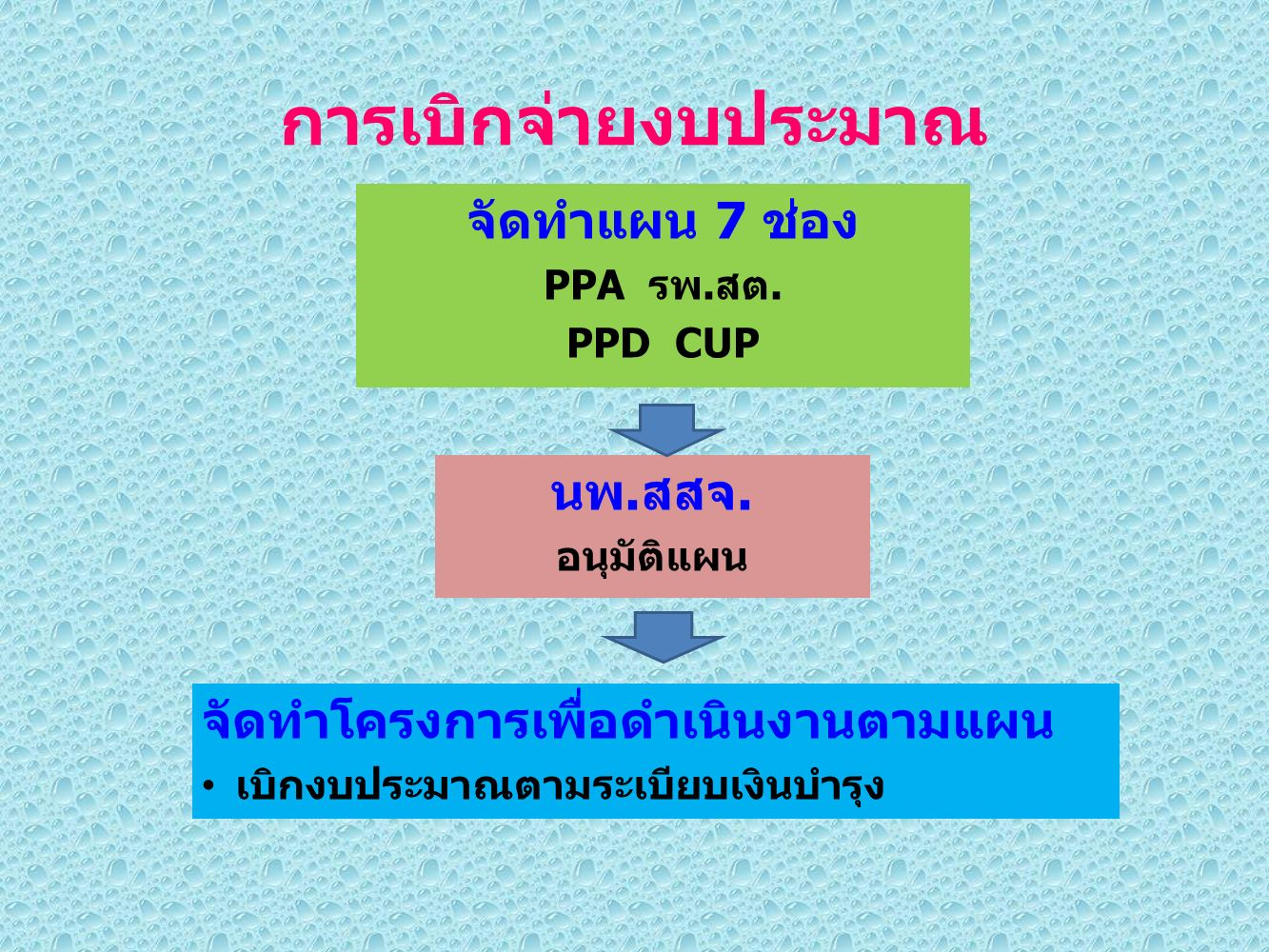 การเบิกจ่ายงบประมาณ จัดทำแผน 7 ช่อง PPA รพ.สต. PPD CUP นพ.สสจ.