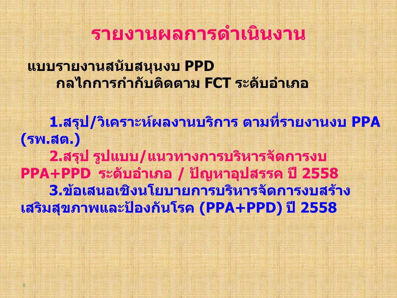 8 รายงานผลการดำเนินงาน แบบรายงานสนับสนุนงบ PPD กลไกการกำกับติดตาม FCT ระดับอำเภอ 1.สรุป/วิเคราะห์ผลงานบริการ ตามที่รายงานงบ PPA (รพ.สต.) 2.สรุป รูปแบบ/แนวทางการบริหารจัดการงบ PPA+PPD ระดับอำเภอ / ปัญหาอุปสรรค ปี 2558 3.ข้อเสนอเชิงนโยบายการบริหารจัดการงบสร้าง เสริมสุขภาพและป้องกันโรค (PPA+PPD) ปี 2558