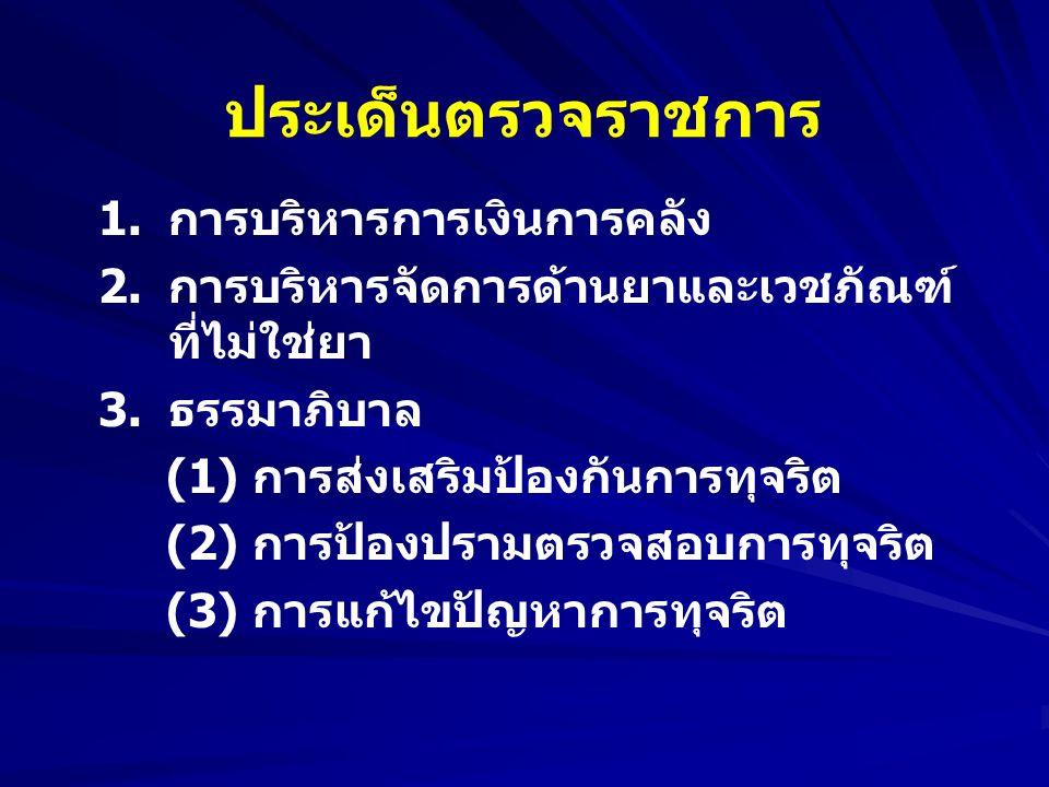 ประเด็นตรวจราชการ 1.การบริหารการเงินการคลัง 2.การบริหารจัดการด้านยาและเวชภัณฑ์ ที่ไม่ใช่ยา 3.ธรรมาภิบาล (1) การส่งเสริมป้องกันการทุจริต (2) การป้องปรามตรวจสอบการทุจริต (3) การแก้ไขปัญหาการทุจริต