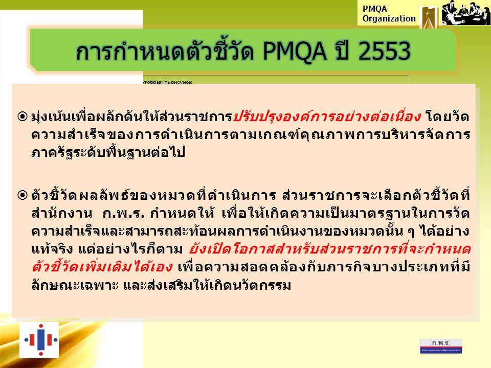 PMQA Organization  มุ่งเน้นเพื่อผลักดันให้ส่วนราชการปรับปรุงองค์การอย่างต่อเนื่อง โดยวัด ความสำเร็จของการดำเนินการตามเกณฑ์คุณภาพการบริหารจัดการ ภาครัฐระดับพื้นฐานต่อไป  ตัวชี้วัดผลลัพธ์ของหมวดที่ดำเนินการ ส่วนราชการจะเลือกตัวชี้วัดที่ สำนักงาน ก.พ.ร.