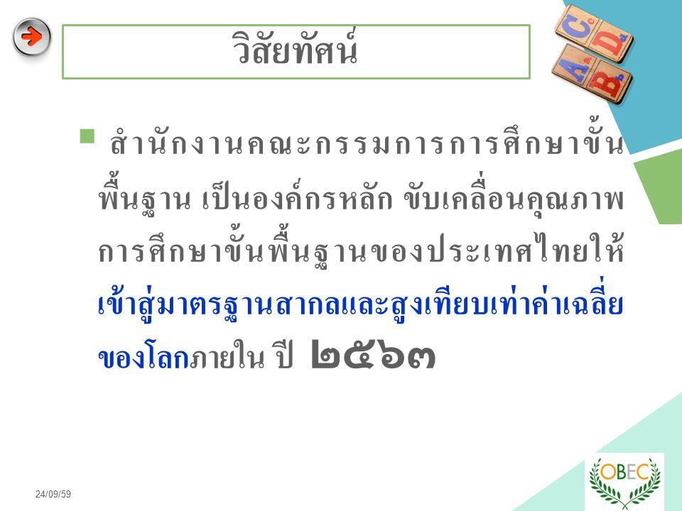LOGO วิสัยทัศน์  สำนักงานคณะกรรมการการศึกษาขั้น พื้นฐาน เป็นองค์กรหลัก ขับเคลื่อนคุณภาพ การศึกษาขั้นพื้นฐานของประเทศไทยให้ เข้าสู่มาตรฐานสากลและสูงเทียบเท่าค่าเฉลี่ย ของโลกภายใน ปี ๒๕๖๓ 24/09/59