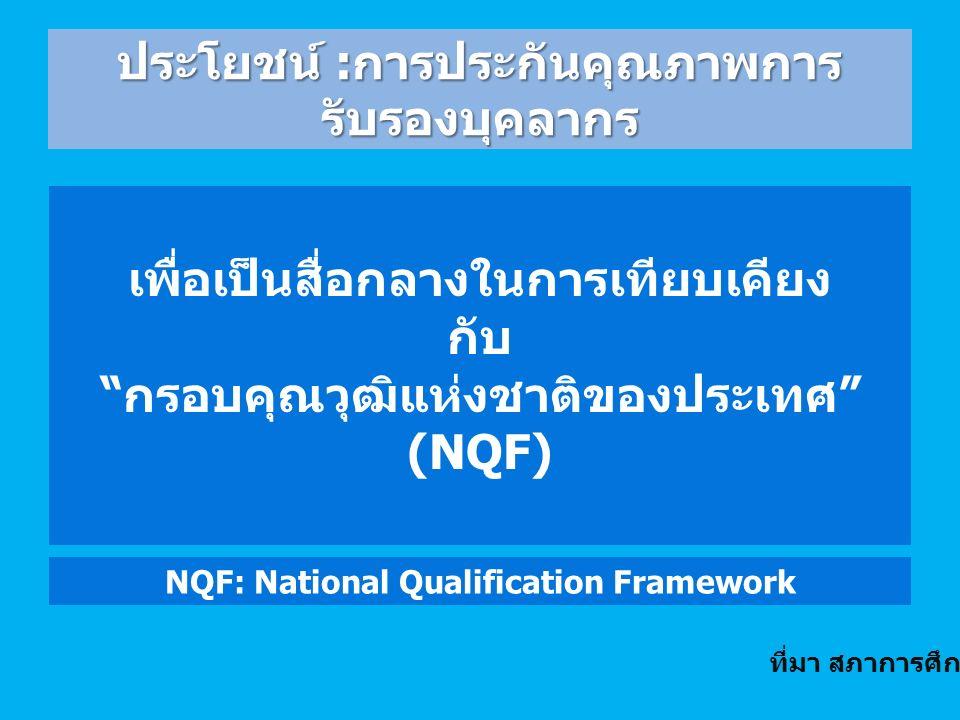 เพื่อเป็นสื่อกลางในการเทียบเคียง กับ กรอบคุณวุฒิแห่งชาติของประเทศ (NQF) NQF: National Qualification Framework ประโยชน์ : การประกันคุณภาพการ รับรองบุคลากร ที่มา สภาการศึกษา