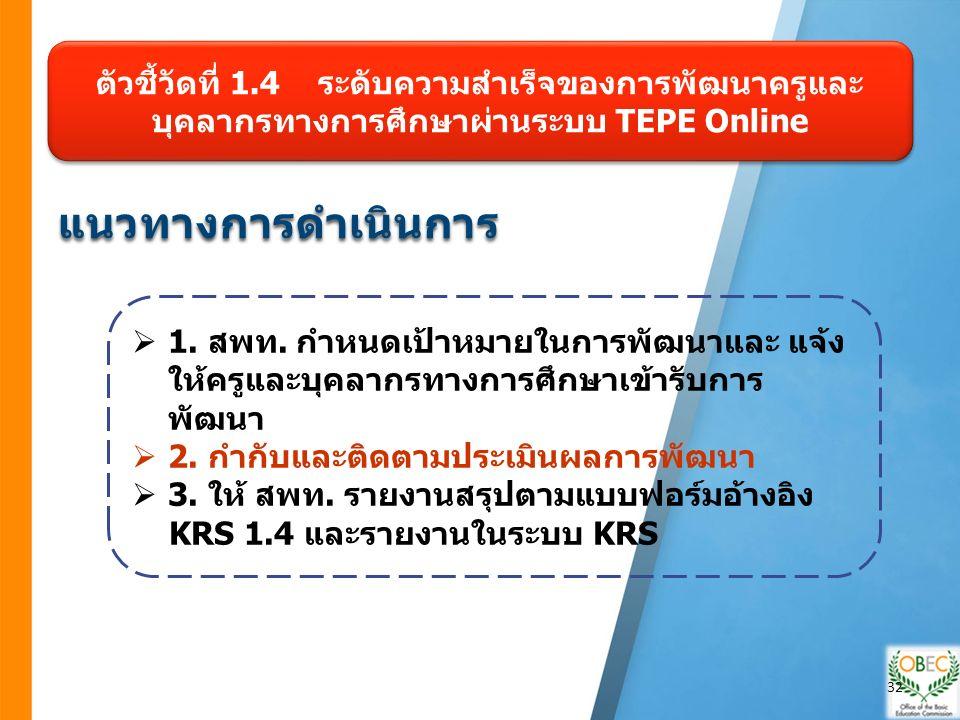 แนวทางการดำเนินการ ตัวชี้วัดที่ 1.4 ระดับความสำเร็จของการพัฒนาครูและ บุคลากรทางการศึกษาผ่านระบบ TEPE Online  1.